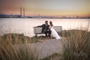 Trash The Dress in Dublin Bay pool beg towers