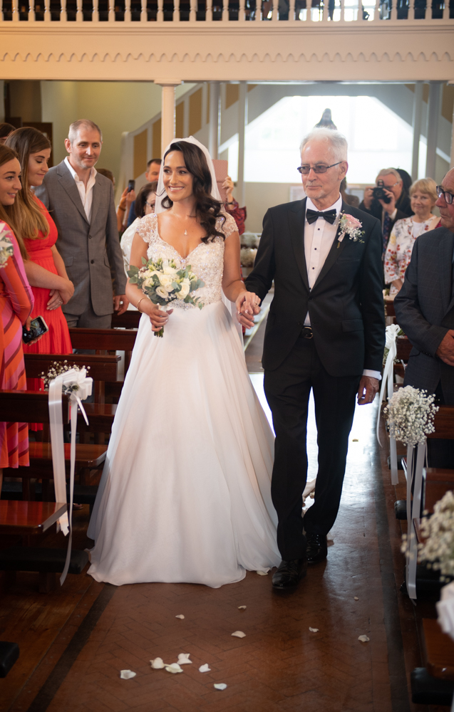 radisson blu wedding bride and dad walking up aisle