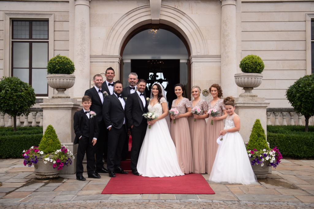 radisson blu wedding bridal party front door at radisson blu saint helens