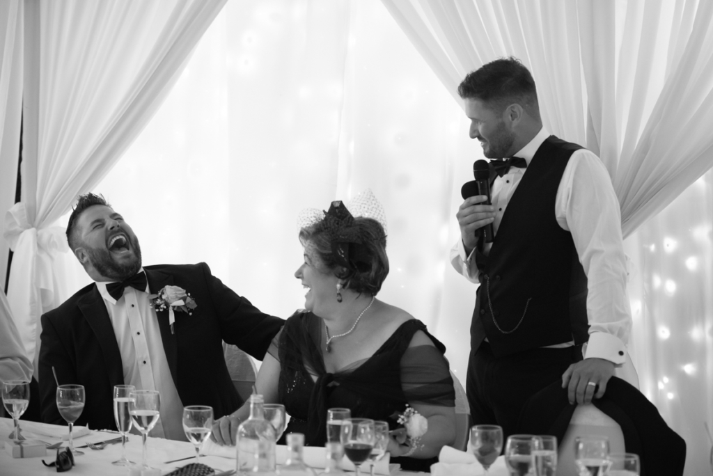 groom speech photo by wedding photographers the fennells