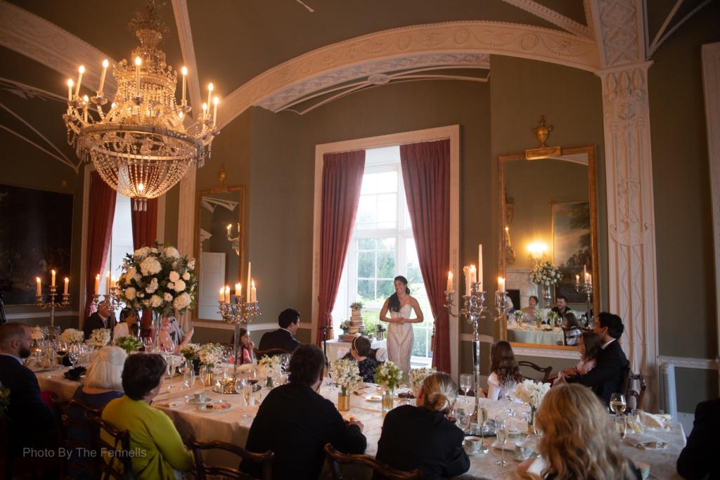 Sarah Roberts giving her wedding speech at her wedding