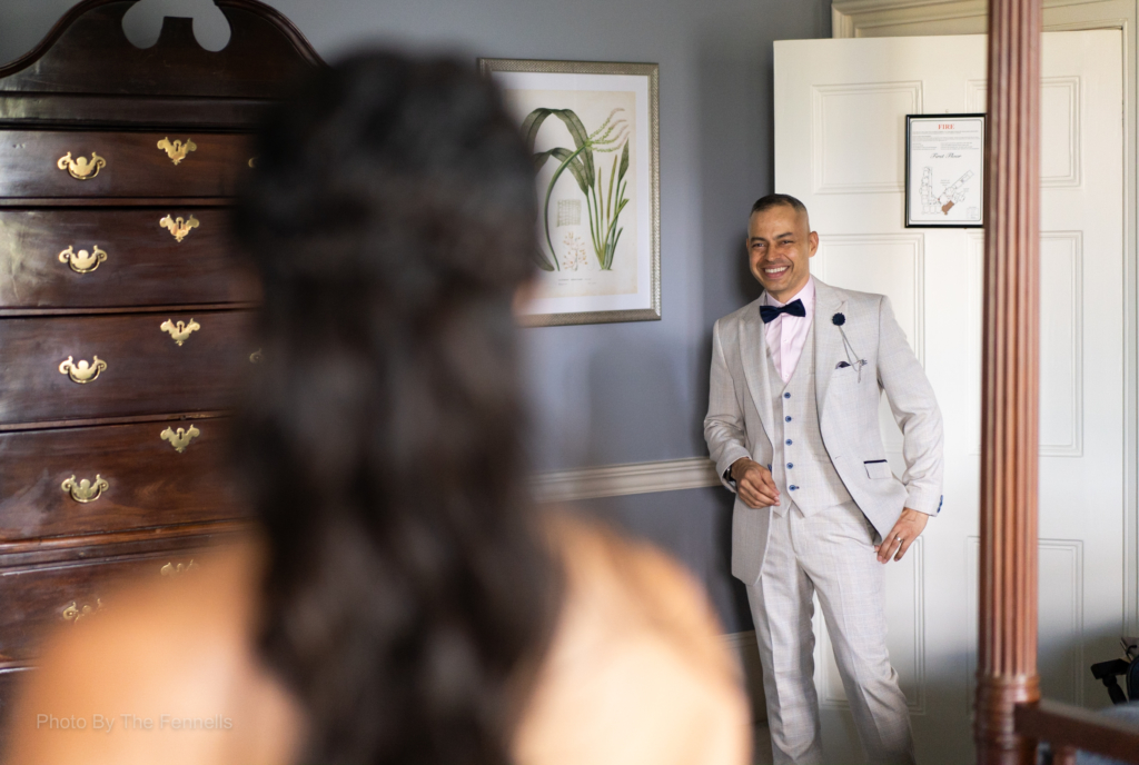 Sarah Roberts brother seeing her in her wedding dress for the first time