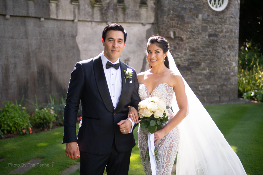 Sarah Roberts and James Stewart on their wedding day at Luttrellstown Castle