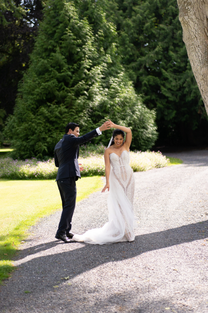 James Stewart and Sarah Roberts dancing and having fun on the grounds of Luttrellstown Castle