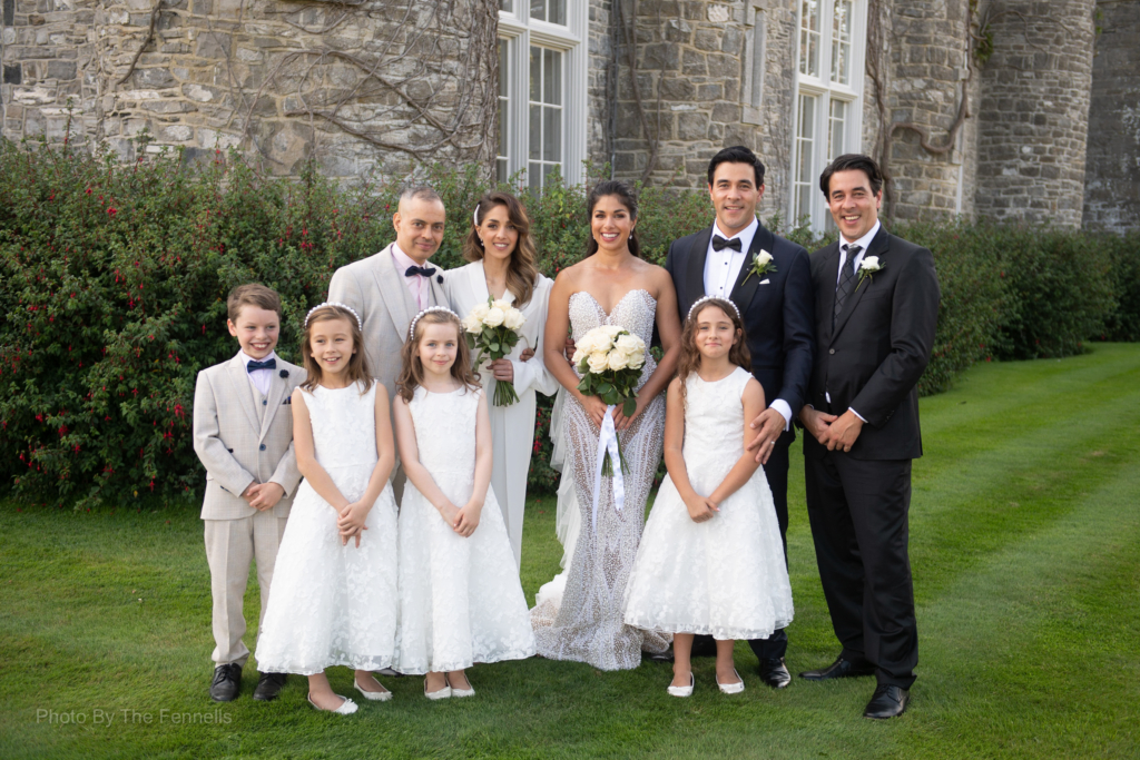 Sarah Roberts and James Stewart with their bridal party