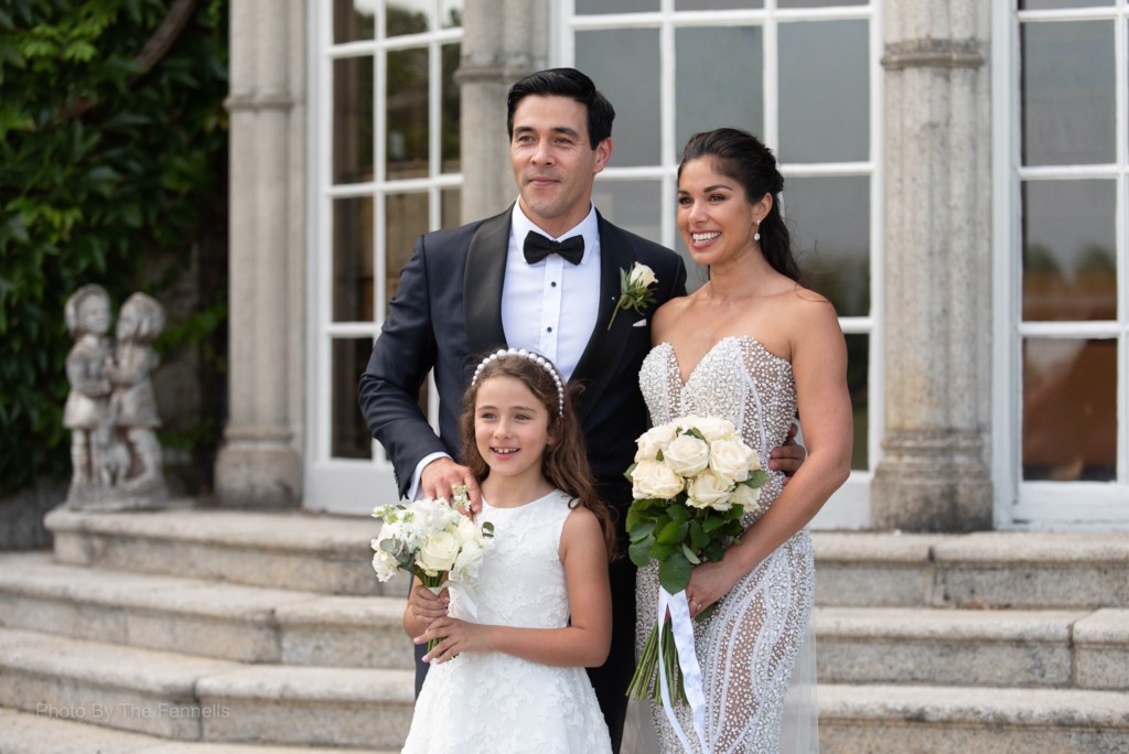 Sarah Roberts and James Stewart with his daughter at the steps of Luttrellstown