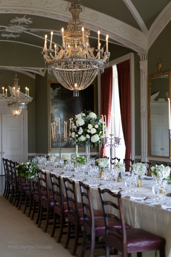 The dinner reception room for the home and away wedding at Luttrellstown Castle