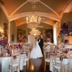 couple in wedding reception room at their Luttrellstown castle wedding in ireland