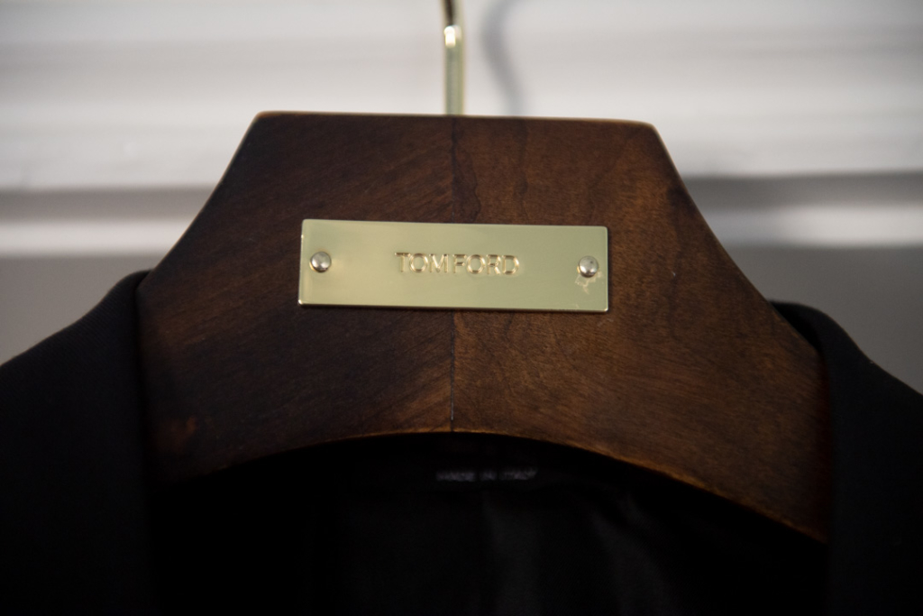 Detail photo of a Tom Ford suit hanger