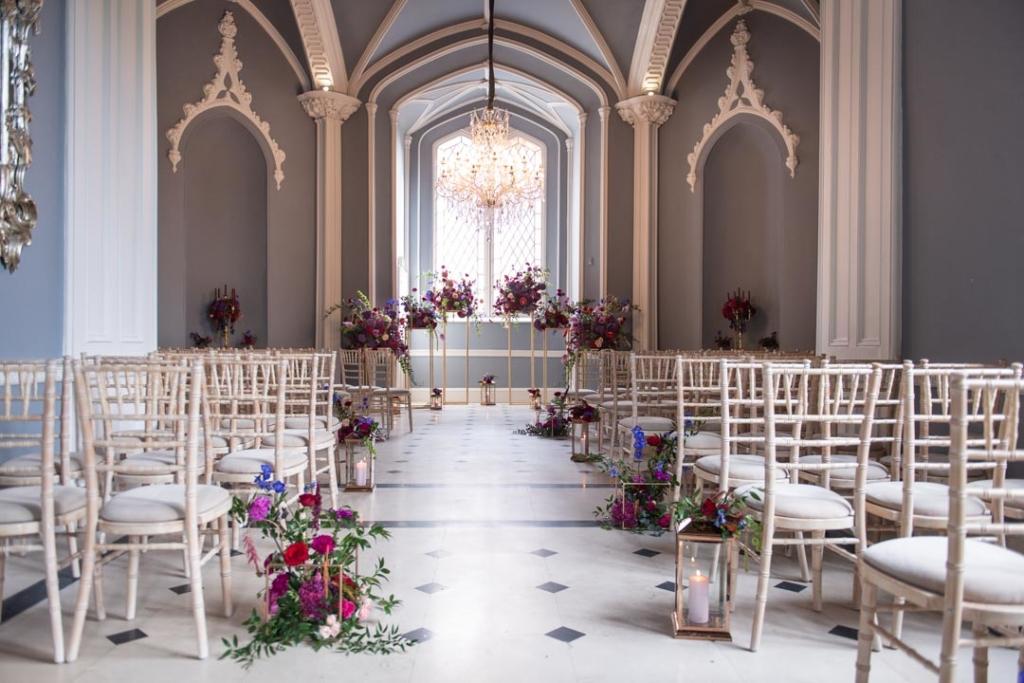 Empty wedding ceremony room in Luttrellstown Castle