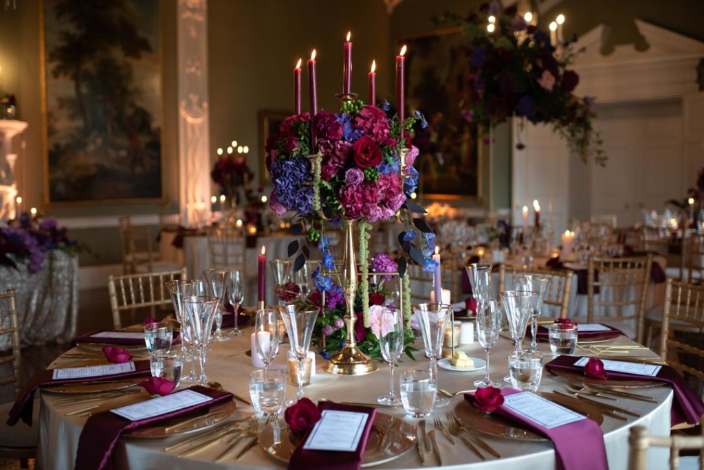 Table setting with flowers in dinner reception room at Luttrellstown Castle