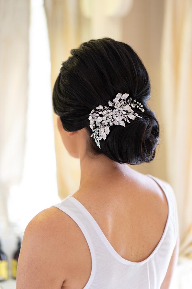 Brides dark hair wedding upstyle