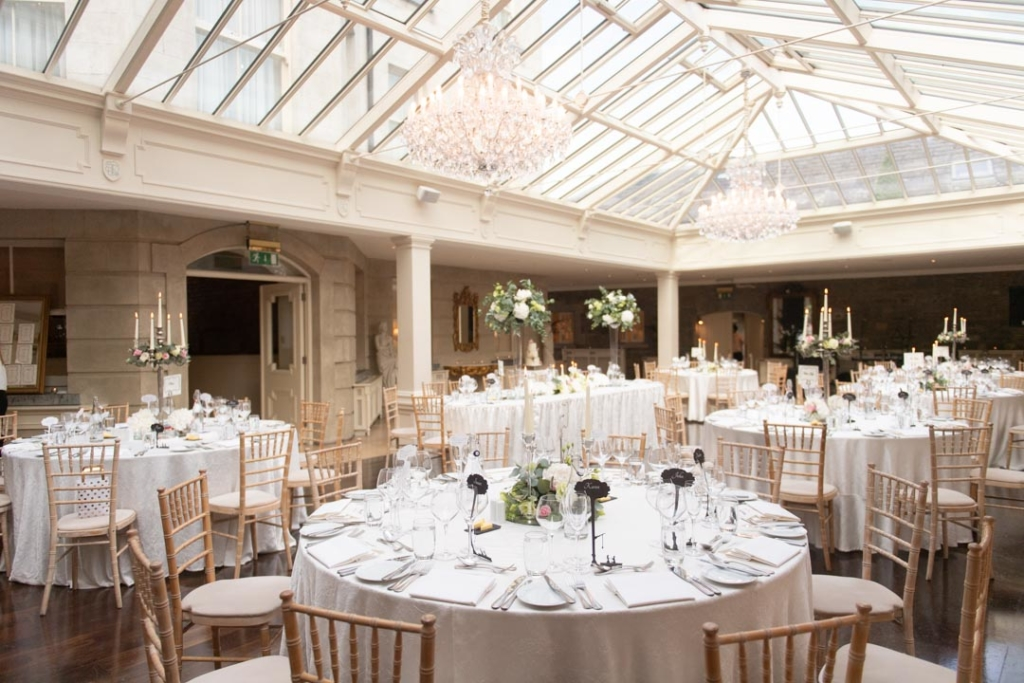 Empty Wedding reception room set out for the Tankardstown House wedding