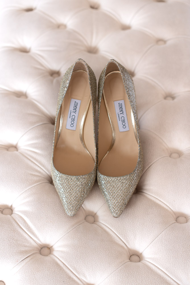 Brides jimmy Choo wedding shoes