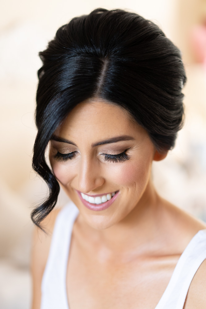 Close up of Bridal makeup at Tankardstown House