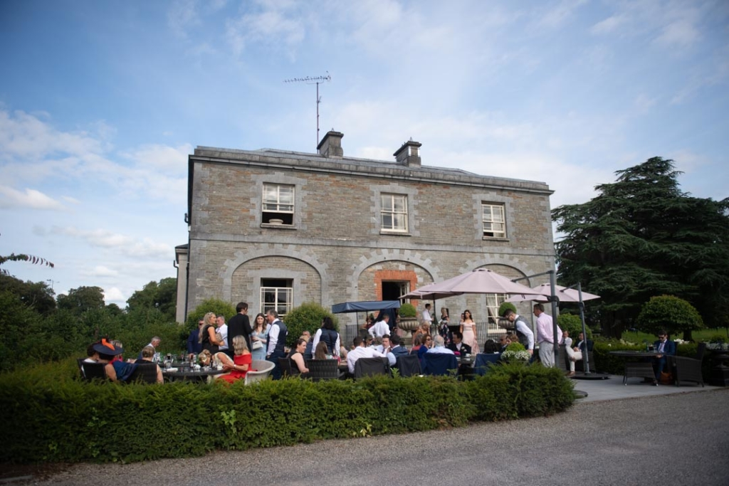 Guests at drinks reception outside for the Tankardstown House Wedding