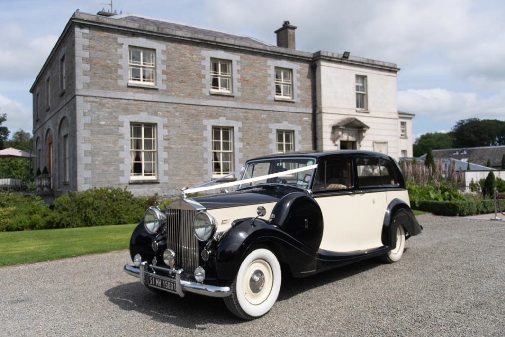 Wedding car waiting outside for the Tankardstown House wedding