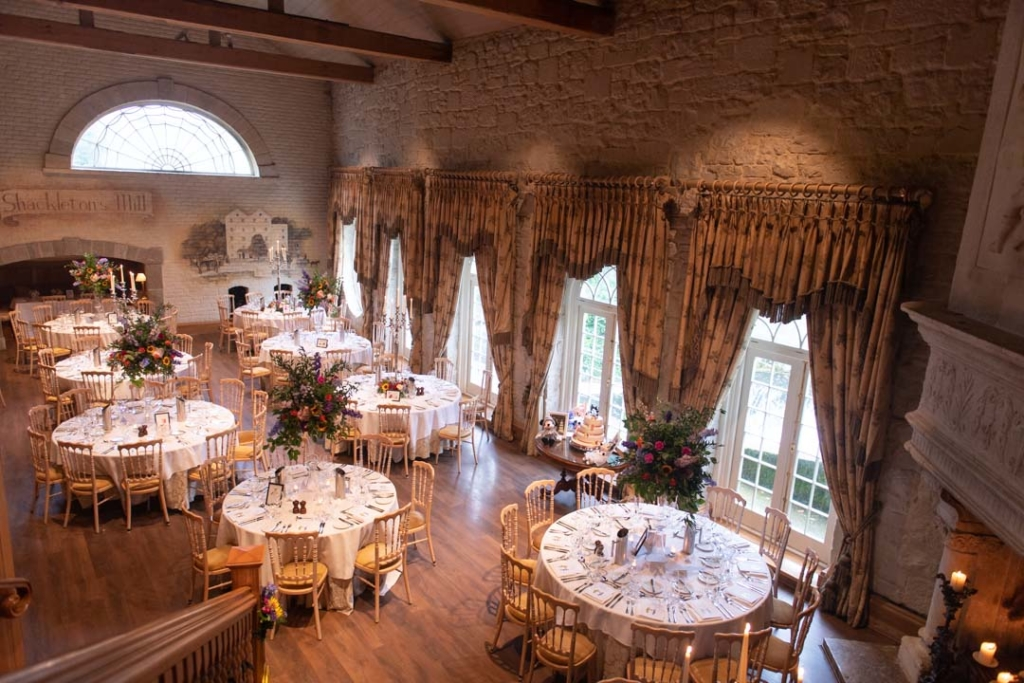 The Reception room set out for dinner at a wedding at the Cliff at Lyons in Dublin