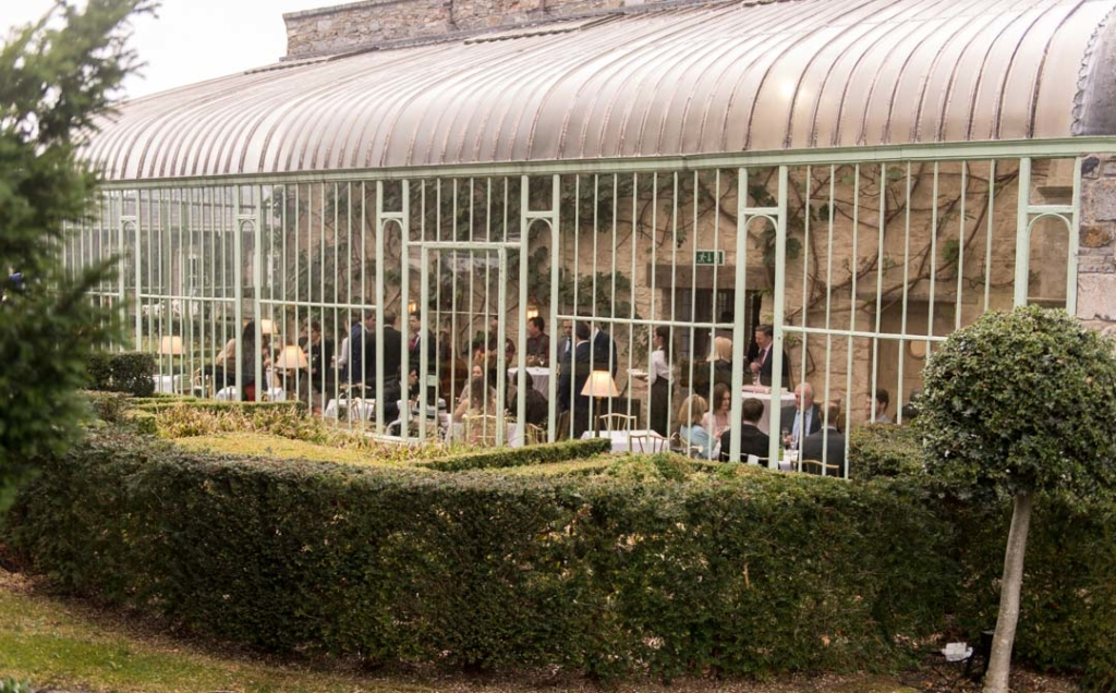 Outside view of the Orangery at the Cliff at Lyons in Celbridge with the wedding guests inside