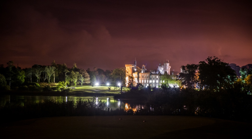 Outside of Dromoland Castle in Ireland at night time