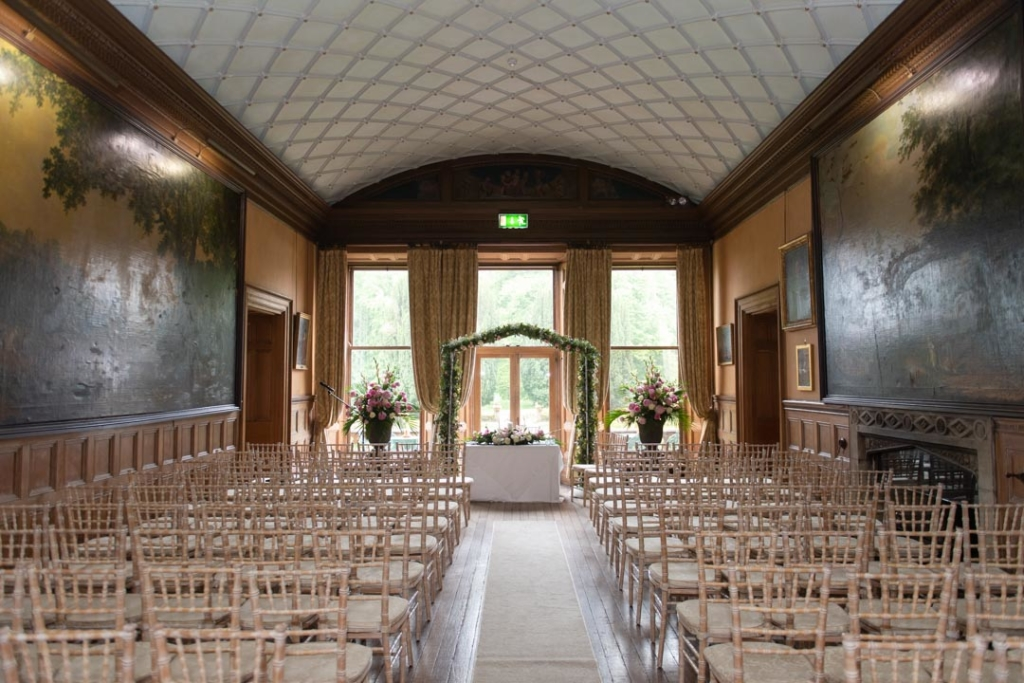The wedding ceremony room at the Castle Leslie wedding venue
