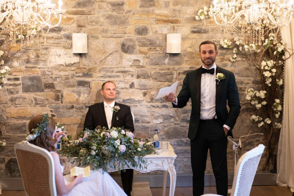 Groom giving speech during wedding ceremony at Ballymagarvey