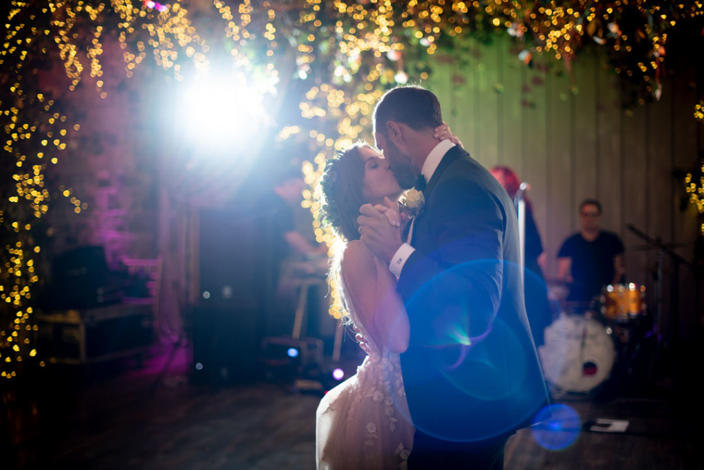 Bride and Groom kissing during their first dance at their Ballymagarvey wedding