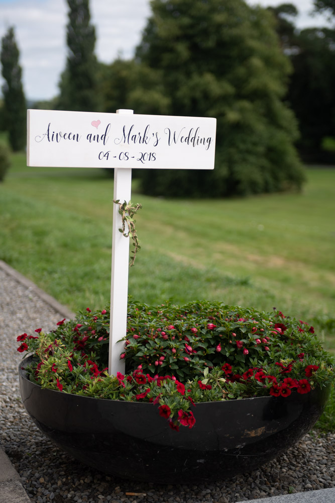 A wedding sign with the bride and grooms name on it at K Club wedding