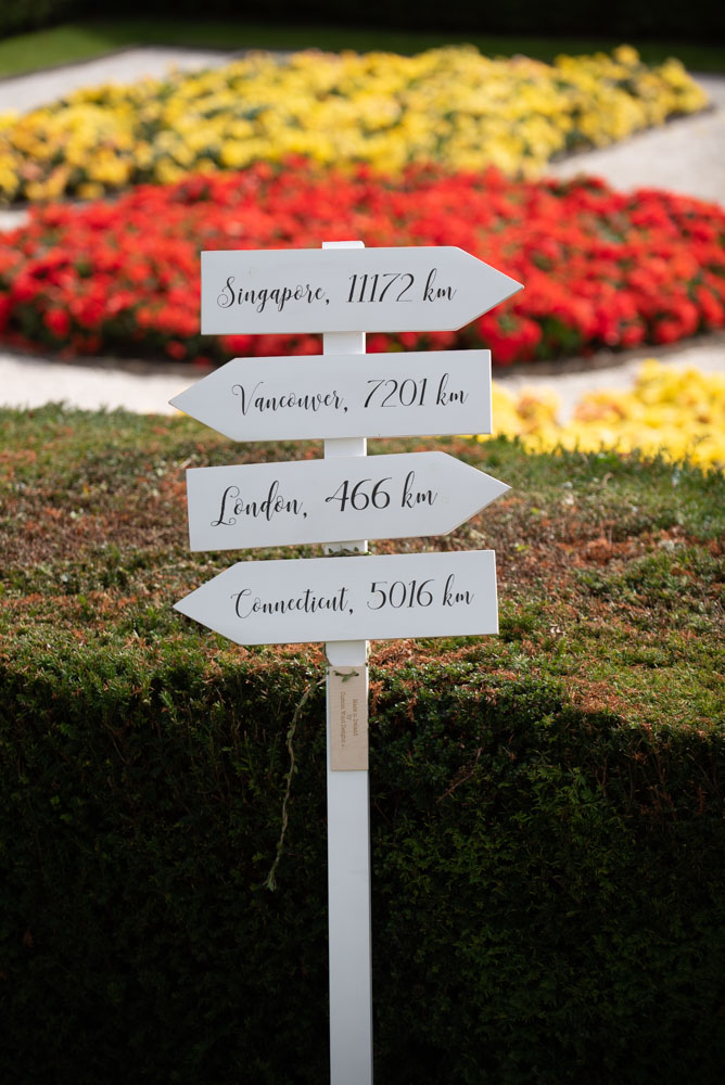 Sign posts at wedding in the garden with names of different countries on it