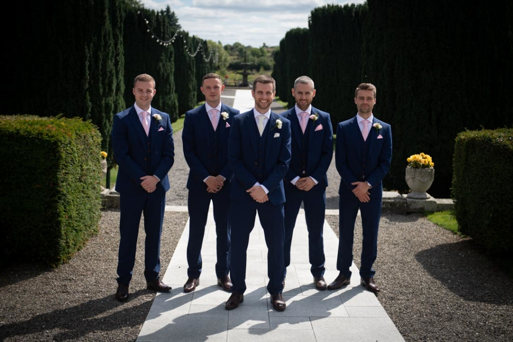 Groom and groomsmen outside in the K Club grounds