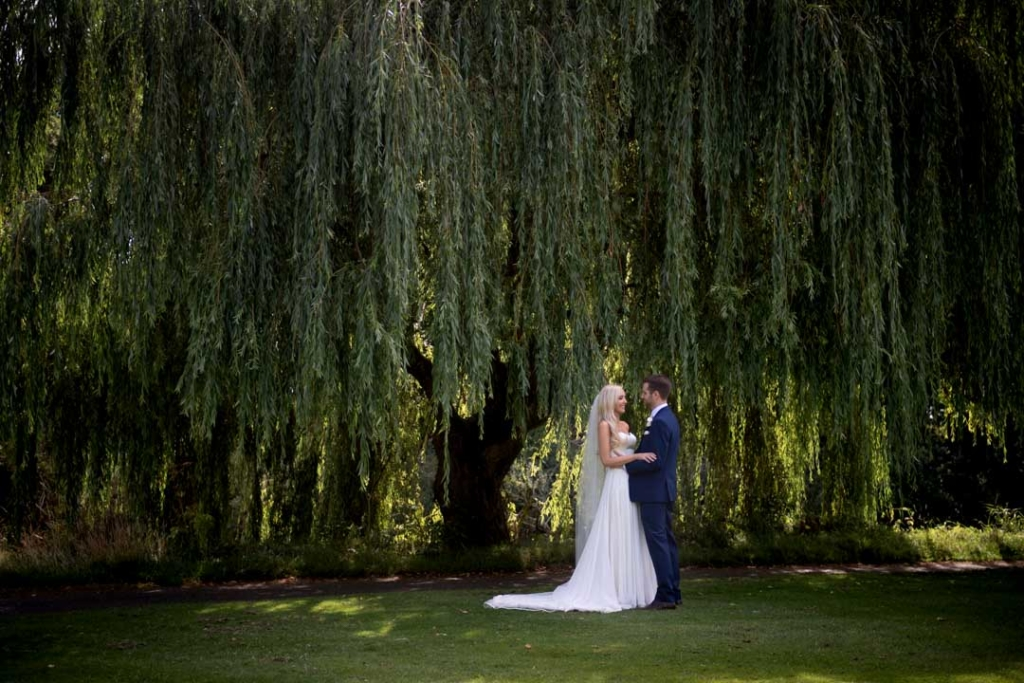 Bride and groom arm in arm in front of a big tree with drooping green branches