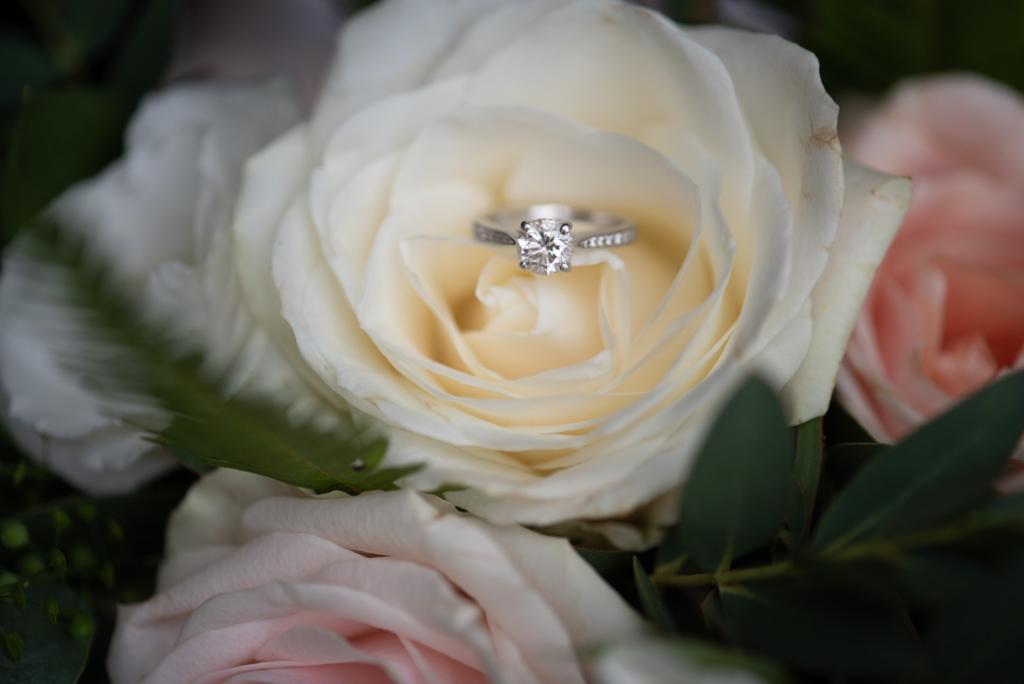 Diamond platinum engagement ring sitting on a white rose