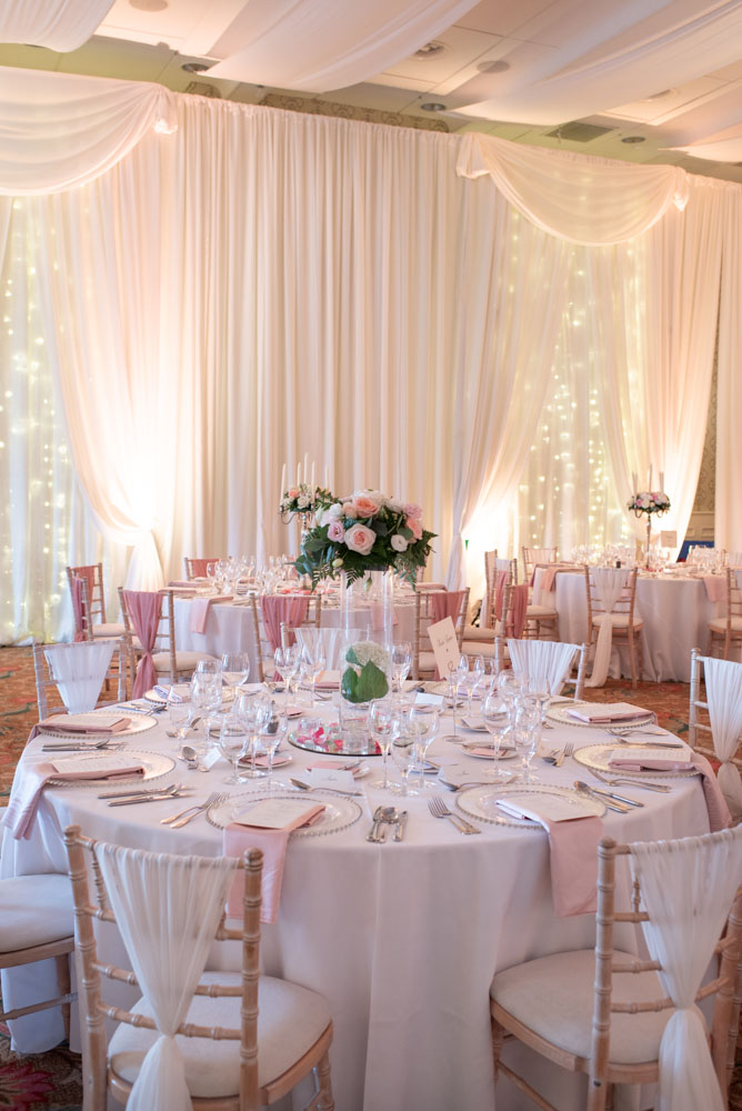 White and pink decor for wedding reception at the K Club