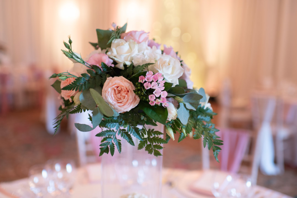 Pink and white centre piece table flowers at the K Club