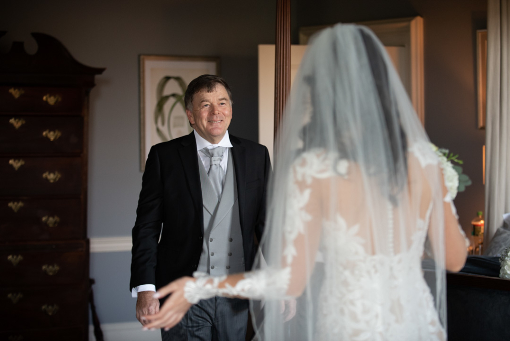 Father of the Bride seeing the Bride for the first time in her wedding dress