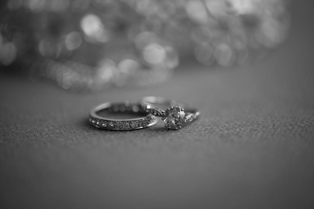 Brides diamond engagement ring and wedding ring