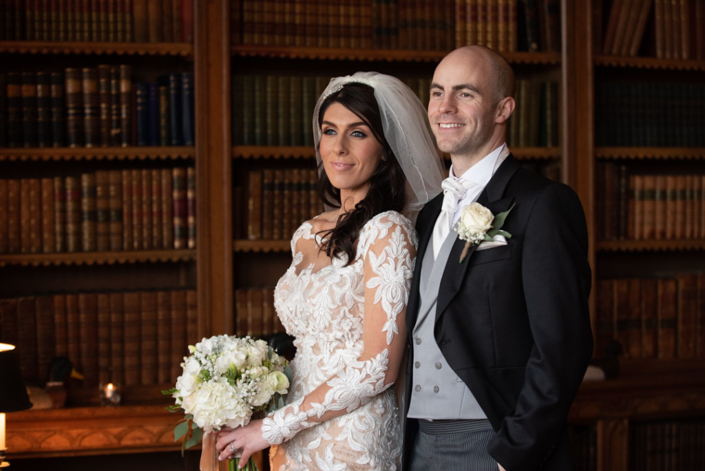 Bride and Groom in the library at Luttrellstown Castle