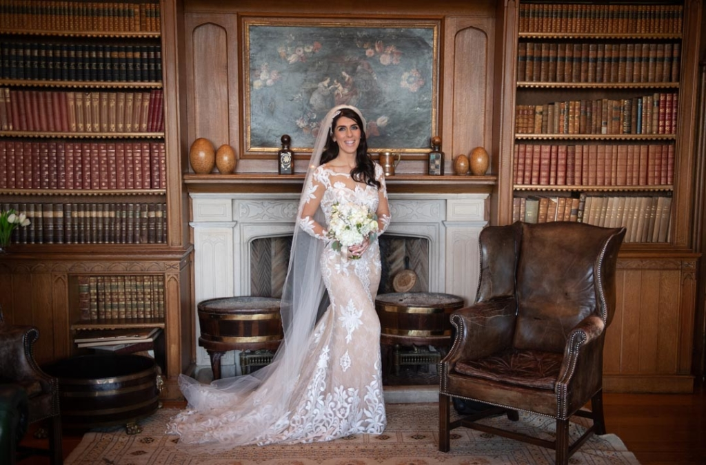 Bride standing in the Luttrellstown Castle library