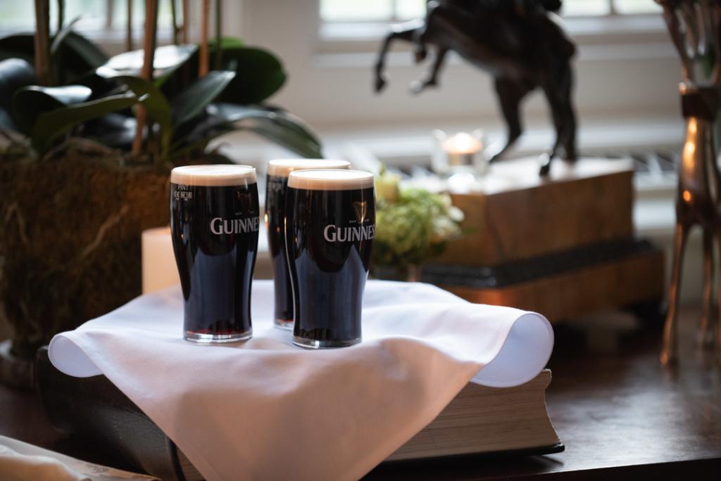Pint of Guinness on a white napkin