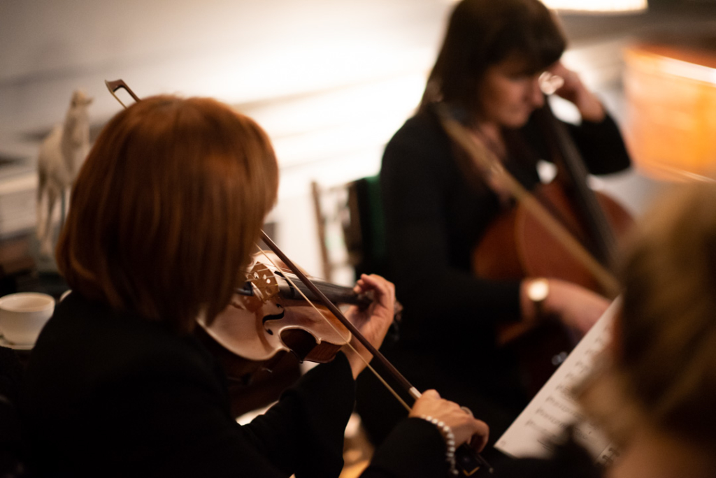String quartet playing at the drinks reception at Luttrellstown Castle