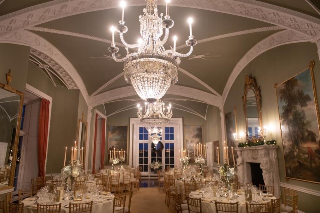 Dinner reception room set for the Luttrellstown Castle wedding