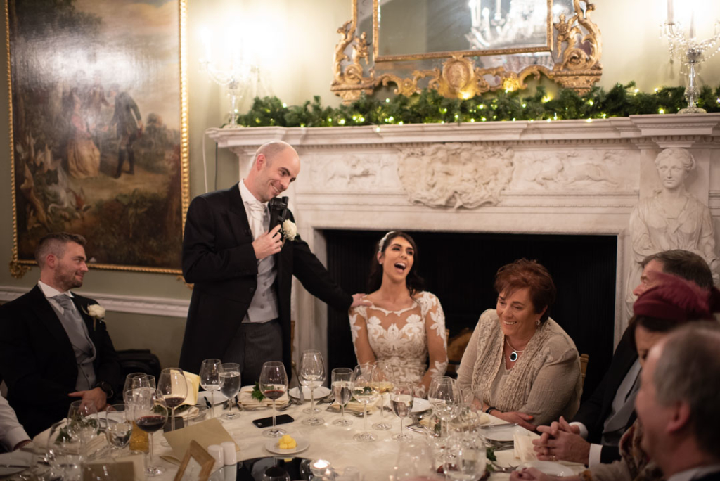 Groom giving his speech and the top table at Luttrellstown Castle