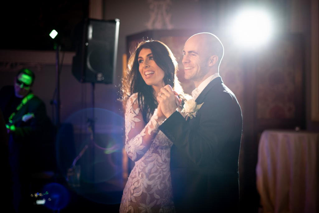 Bride and groom dancing together on dance floor at Luttrellstown Castle
