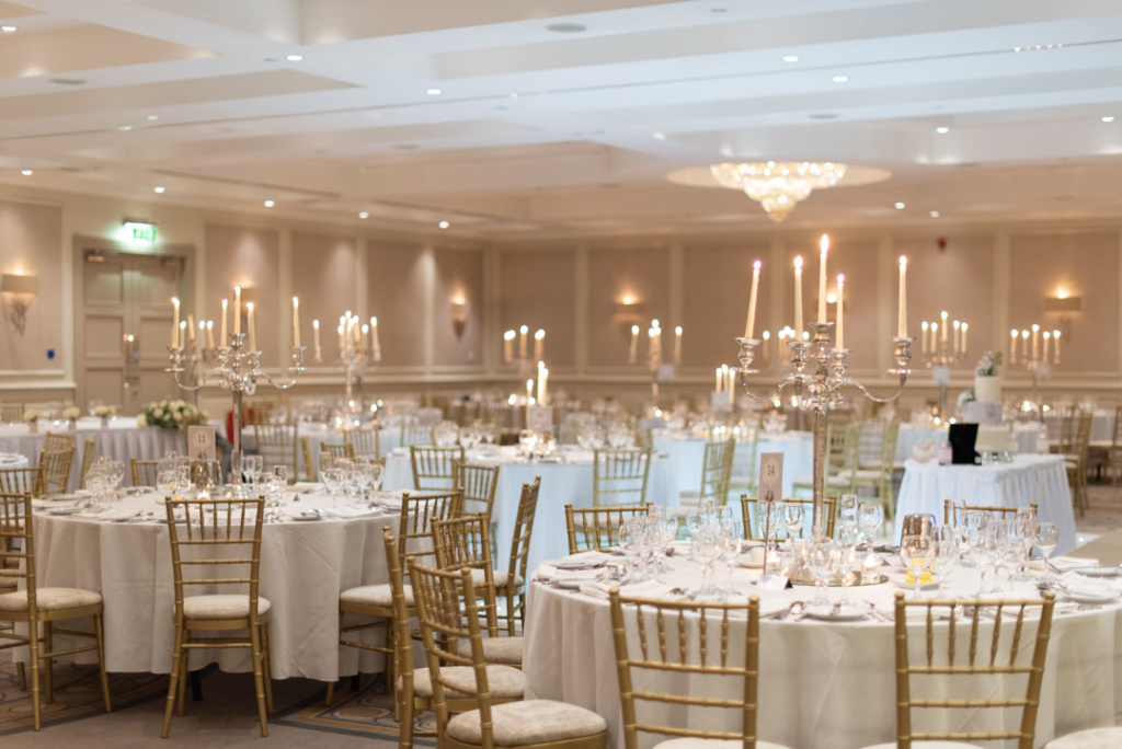 The wedding reception room set up for a wedding at the Druids Glen hotel