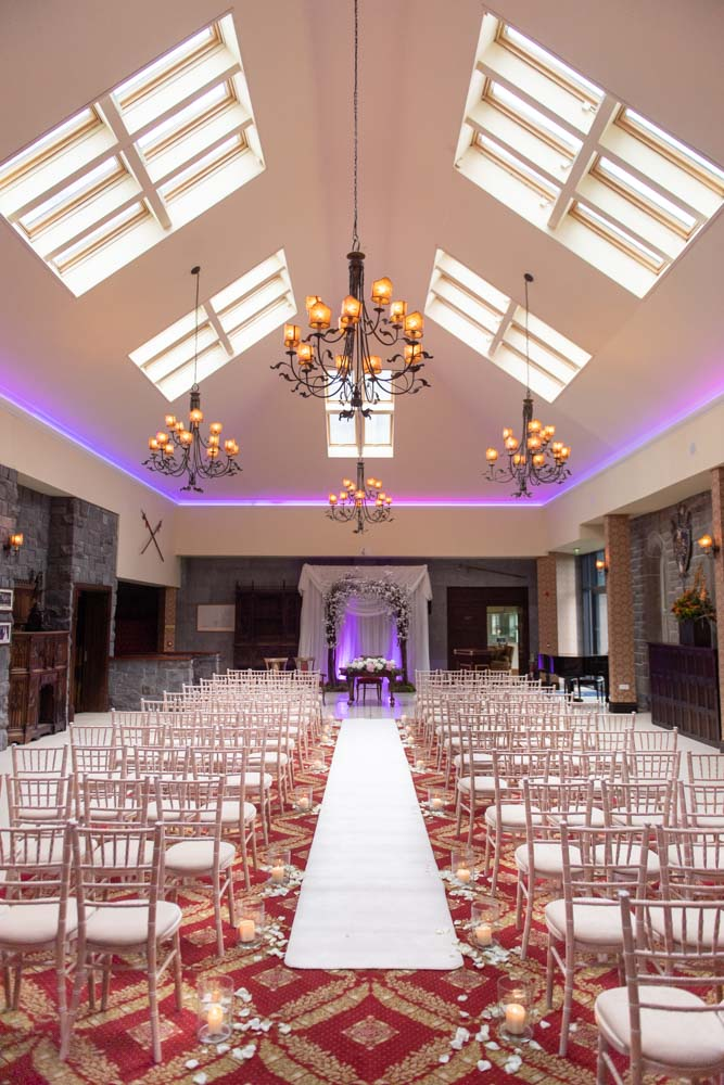 The wedding ceremony room set up for a wedding in Kilronan Castle