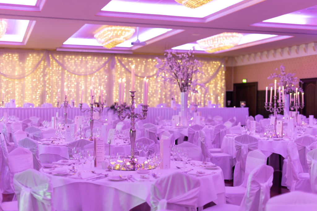 The dinner reception room set up for the wedding at Kilronan Castle