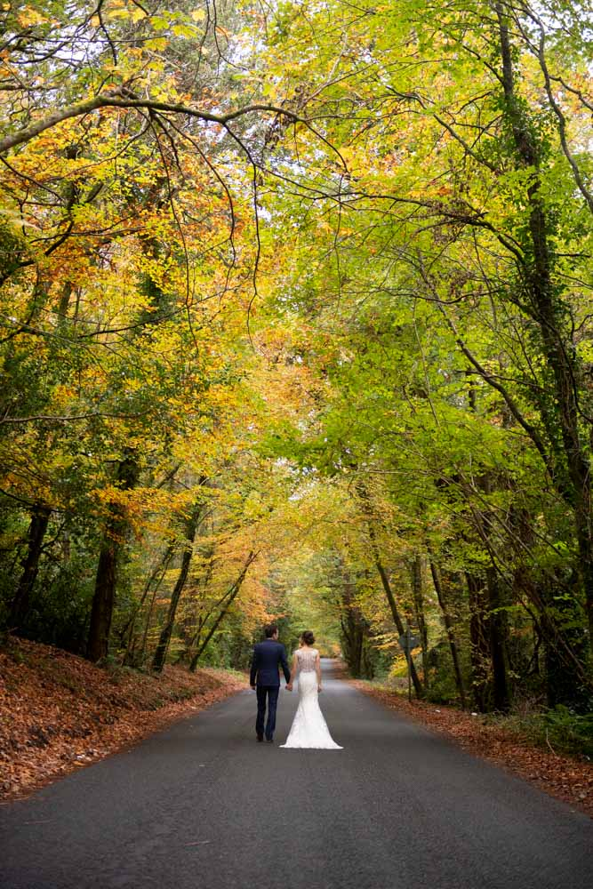 Bride and groom holding hands walking up the driveway surrounded by autumnal leaves at Lough Rynn Castle