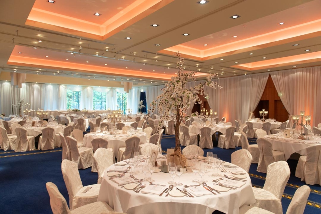The wedding reception room set up for a wedding at Lough Rynn Castle
