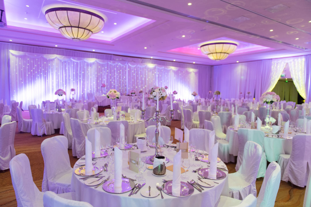 The dinner reception room set up for a wedding at the Lyrath Estate