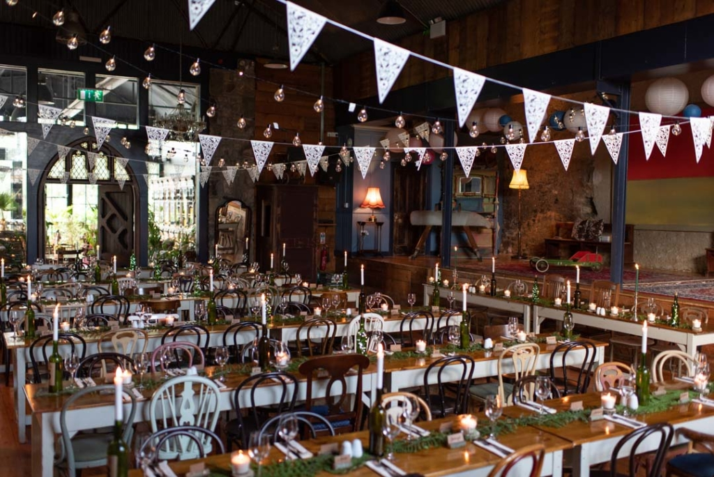 Inside the Barn set up for the wedding dinner at the Mount Druid wedding venue